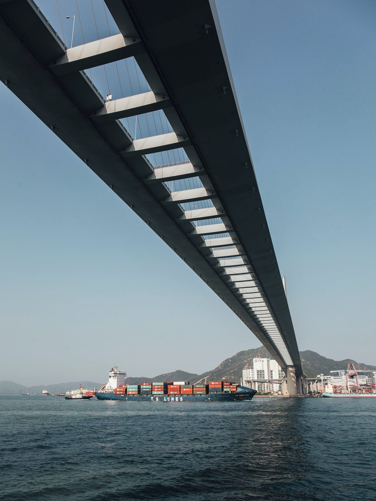 Container Port Rd S view of Stonecutters Bridge