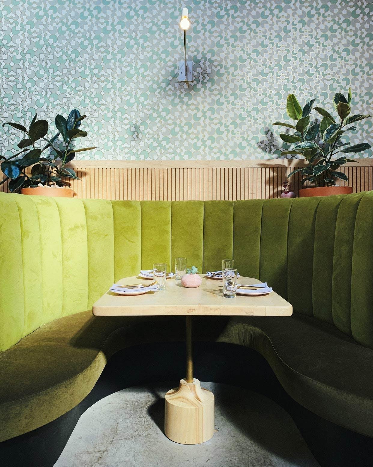Atrium Green Velvet Booth