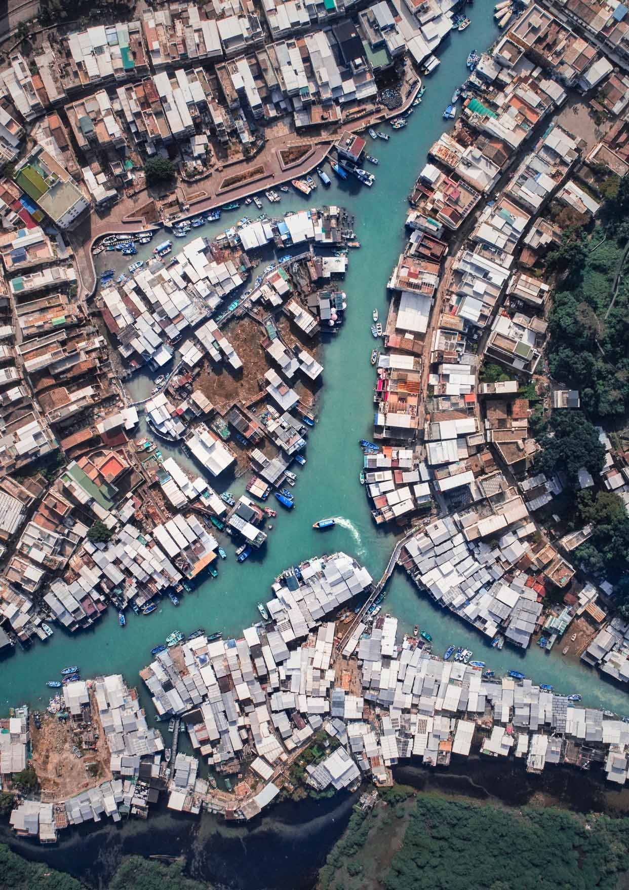 Drone view of Tai-O Fishing Village