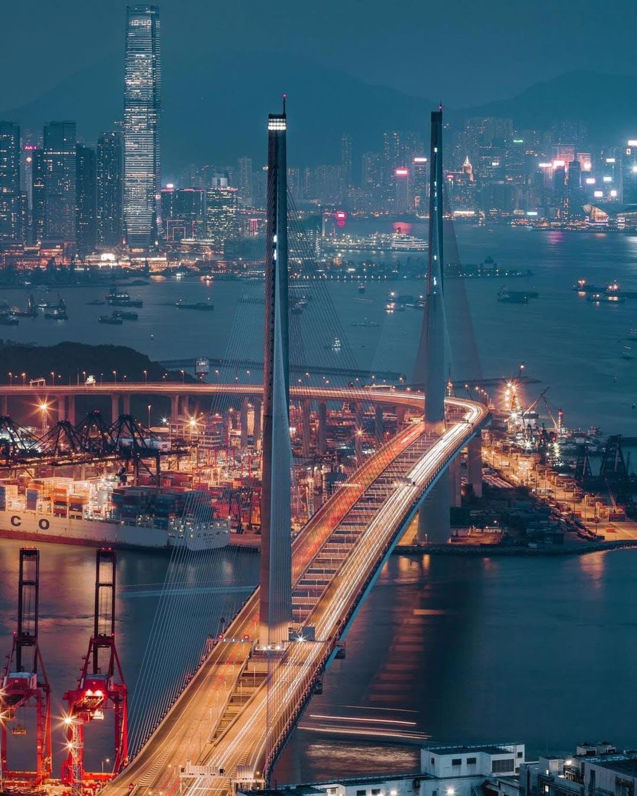 Tsing Yi Island Peak view of Stonecutters Bridge & ICC Building