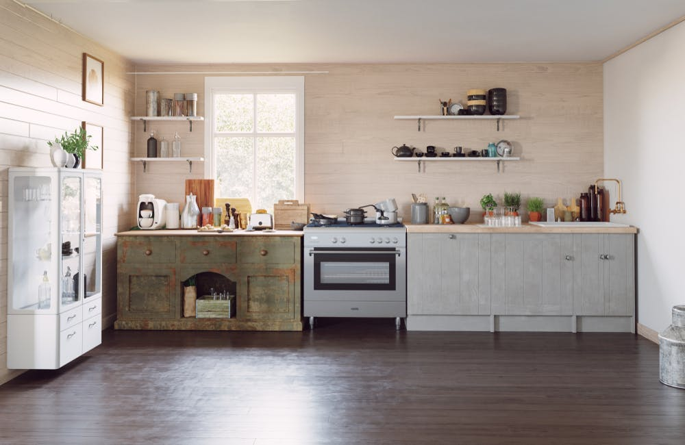 Kitchen Cabinets Mixed With Clic Styles