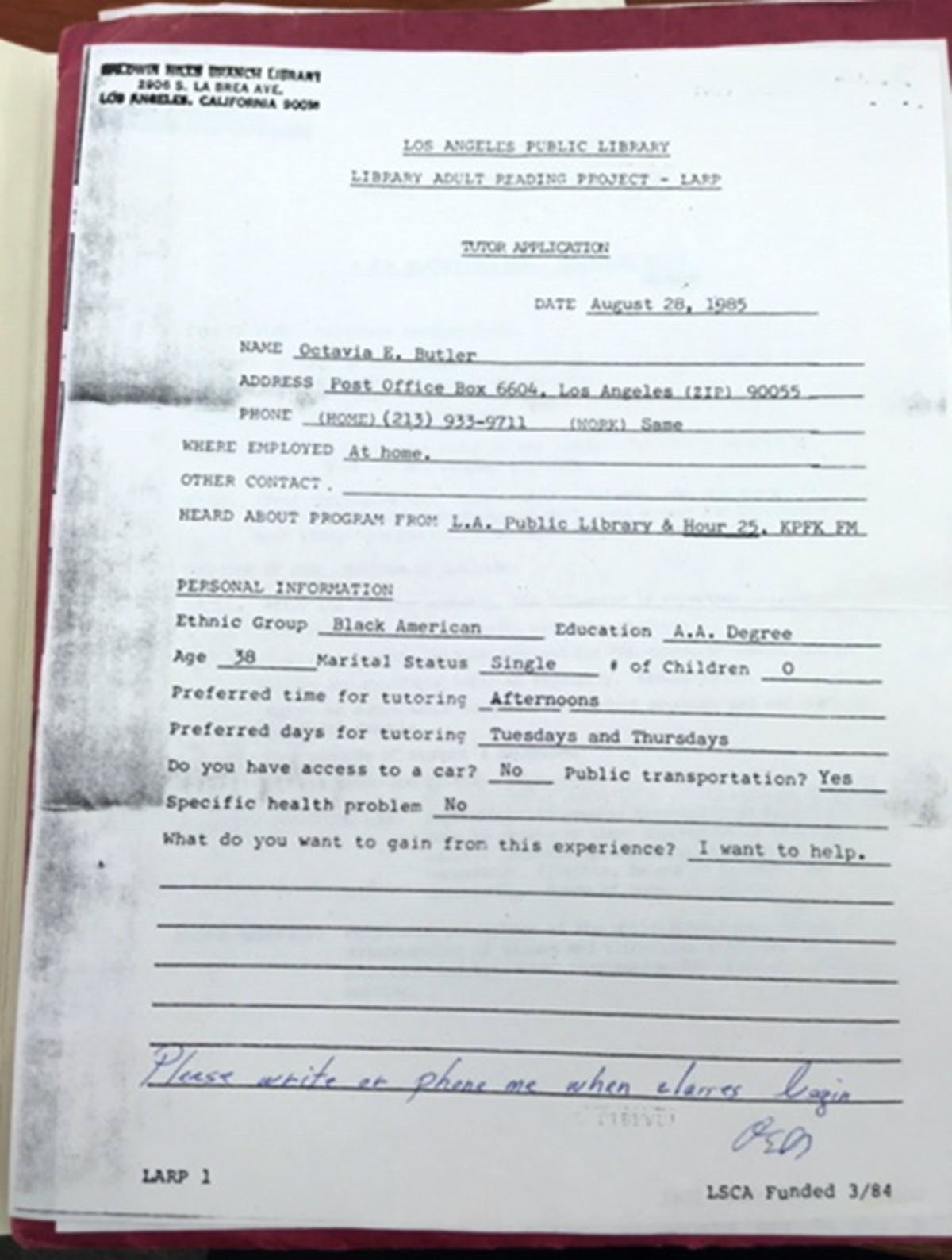 "Octavia Butler's application to volunteer at the Los Angeles Public Library. ""I want to help."""