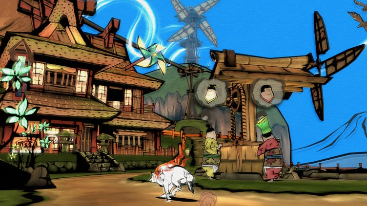 Okami HD - Traditional art graphics in a modern game