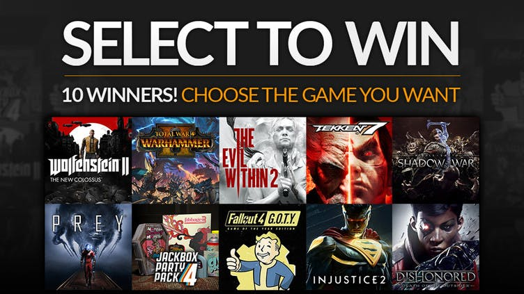 Pick and win one of ten top Steam PC games