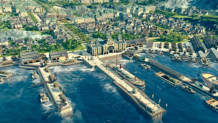 How do I buy shares in Anno 1800?