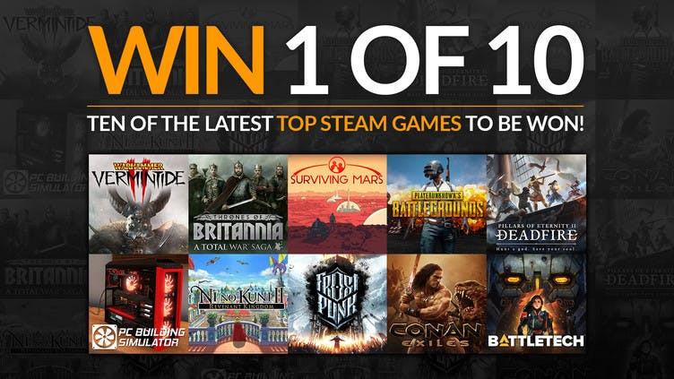Win one of ten top Steam PC games