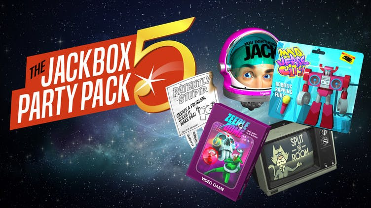 Which games are included in The Jackbox Party Pack 5