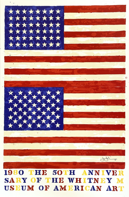 Jasper Johns, The 50th Anniversary of the Whitney Museum of American Art, 1980 (Double Flag), 1979