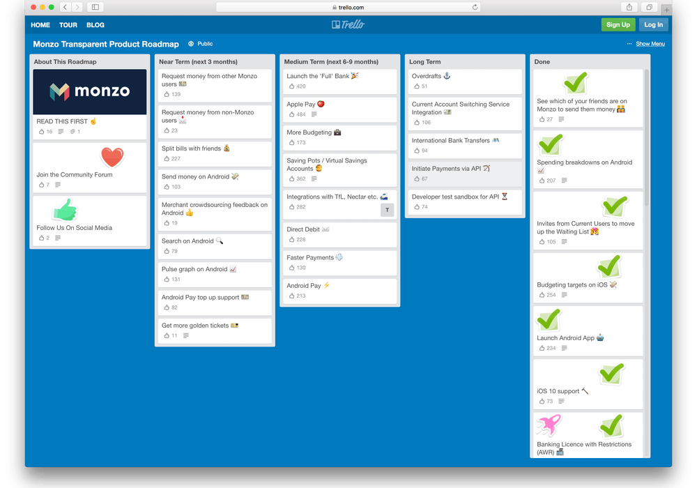 Buffer use Trello for their roadmap, but there are far better options
