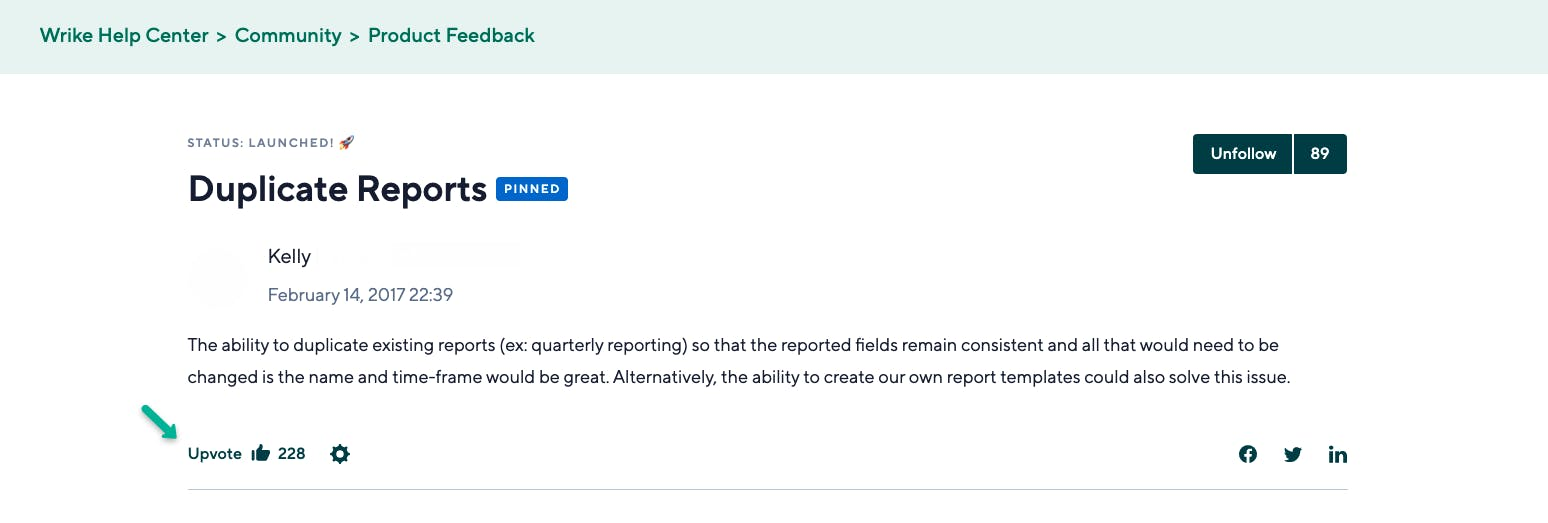 wrike's feedback forum