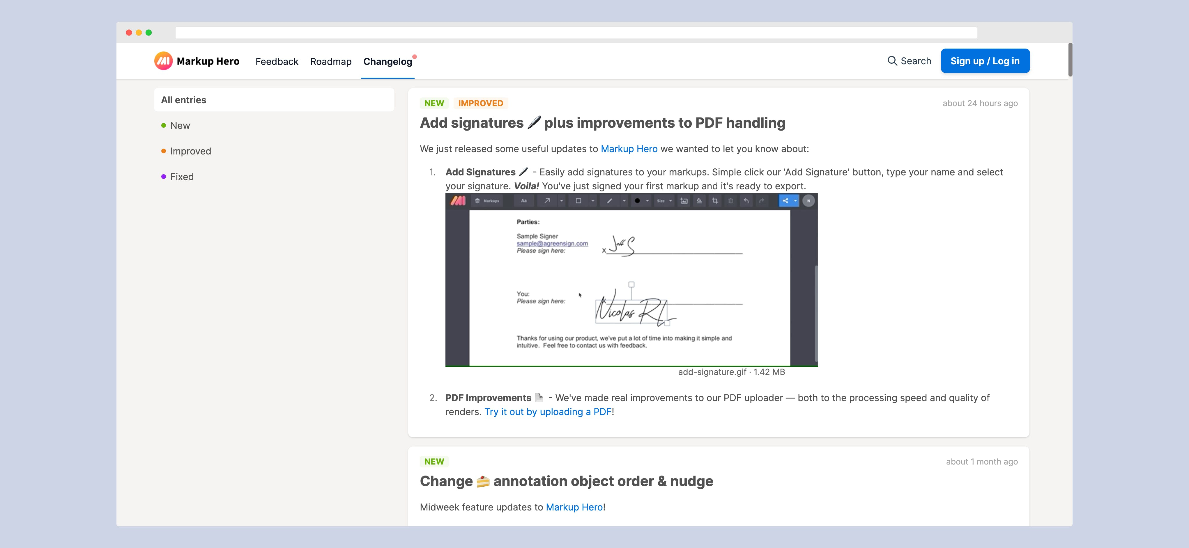 FeedBear's Changelog Tool