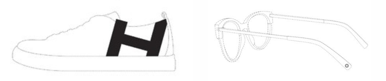 Nákres boty a brýlí s umístěnou značkou
