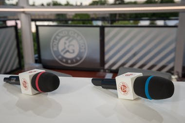 Microphones on the set of the Live at Roland-Garros show 2018