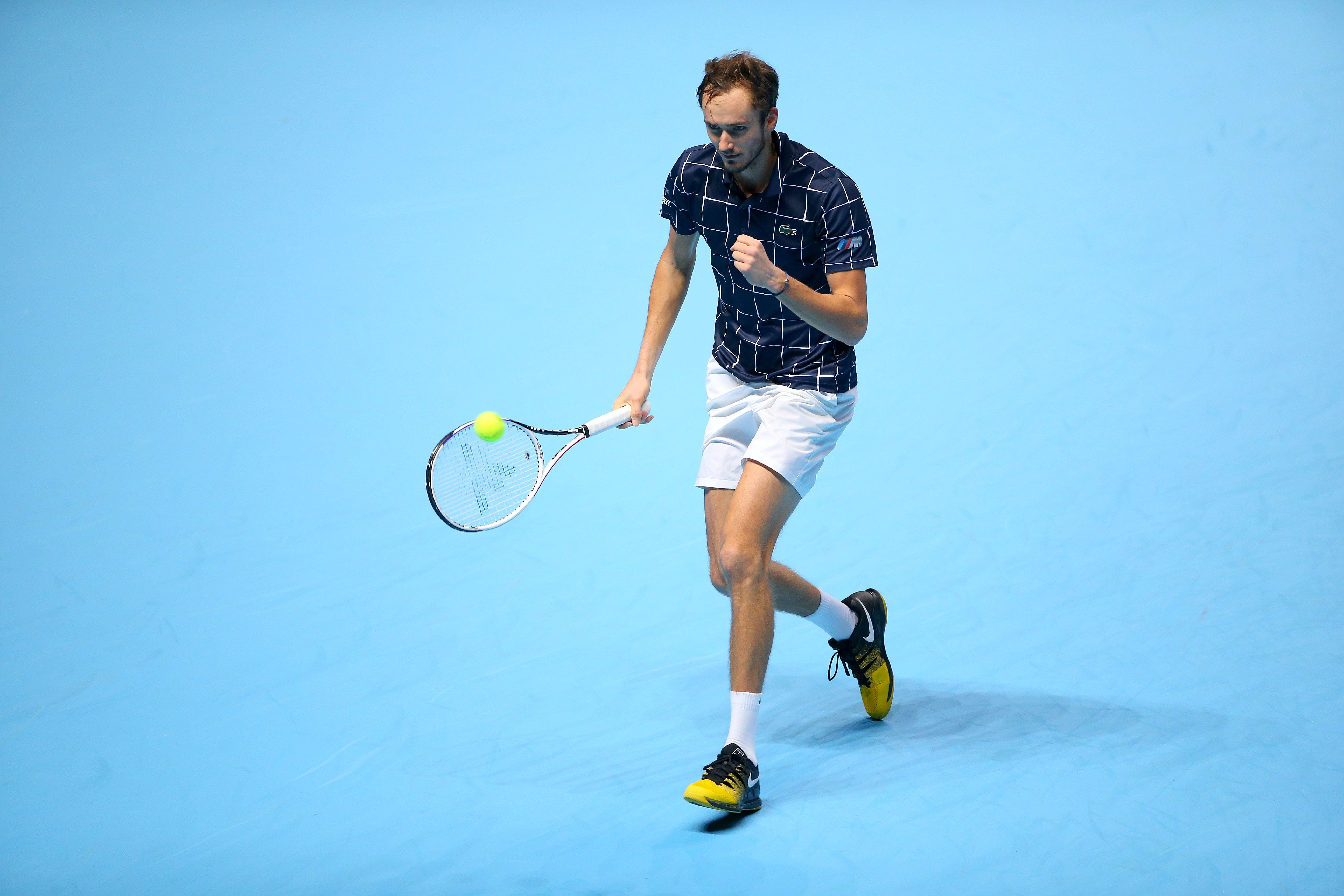 Daniil Medvedev celebrating during his round-robin match against Novak Djokovic at the ATP Finals 2020