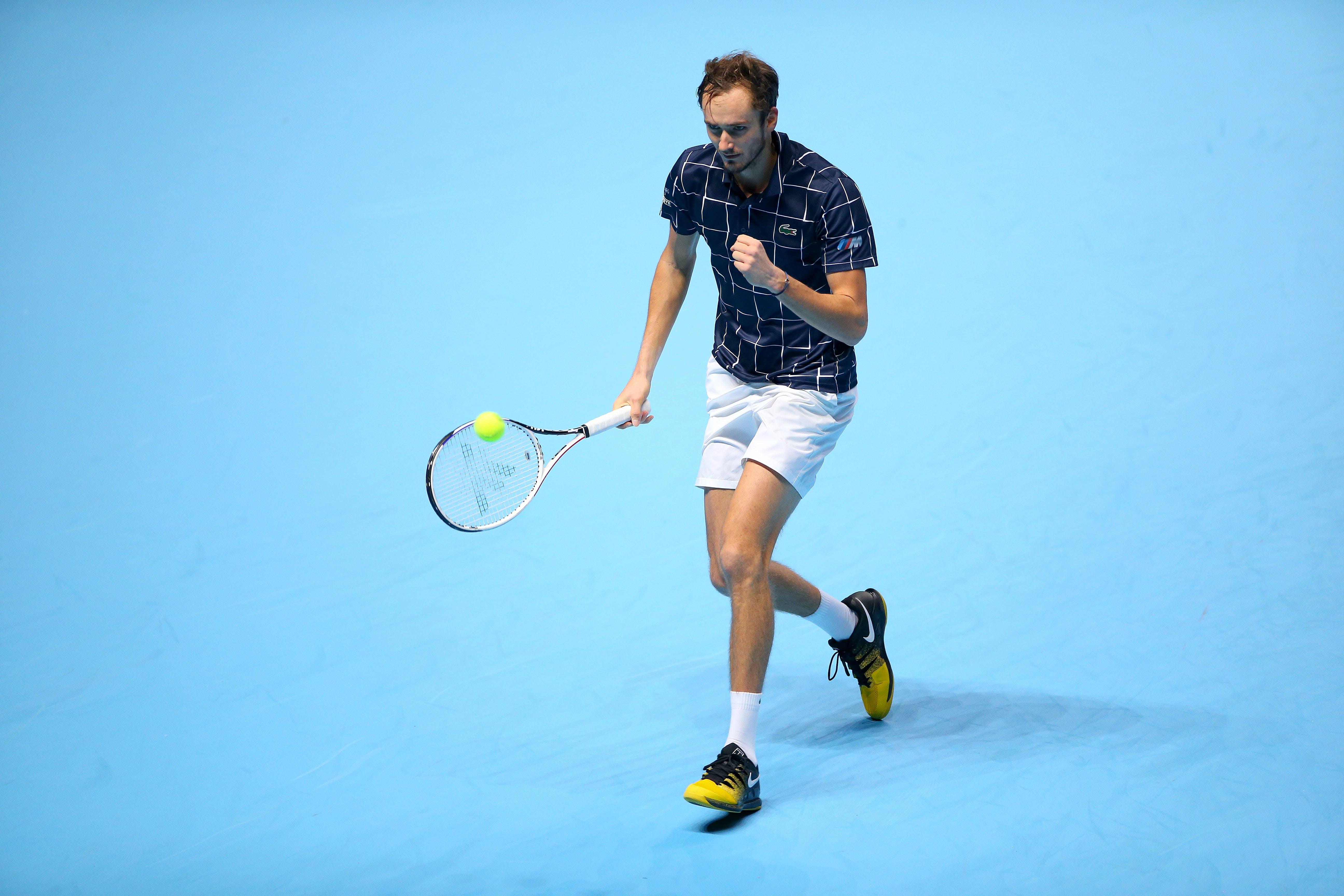 Daniil Medvedev celebrating during his round-robin match against Novak Djokovic at the ATP Finals 2020
