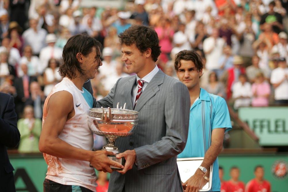 Rafael Nadal, Gustavo Kuerten et Roger Federer