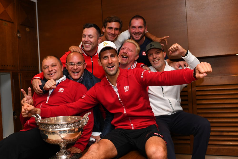 Novak Djokovic and his team in the locker after havinw won Roland-Garros 2016