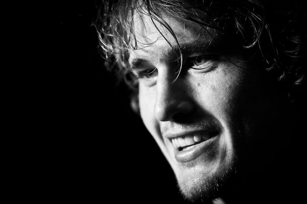 Alexander Zverev all smile in black and white at the 2018 Rolex Paris Masters