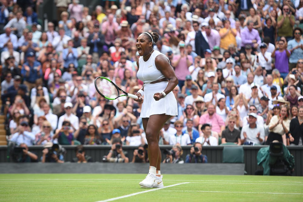 Serena Williams screaming out of joy and relief at Wimbledon 2019