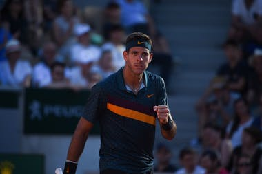 Juan Martin Del Potro fist puming during Roland-Garros 2019