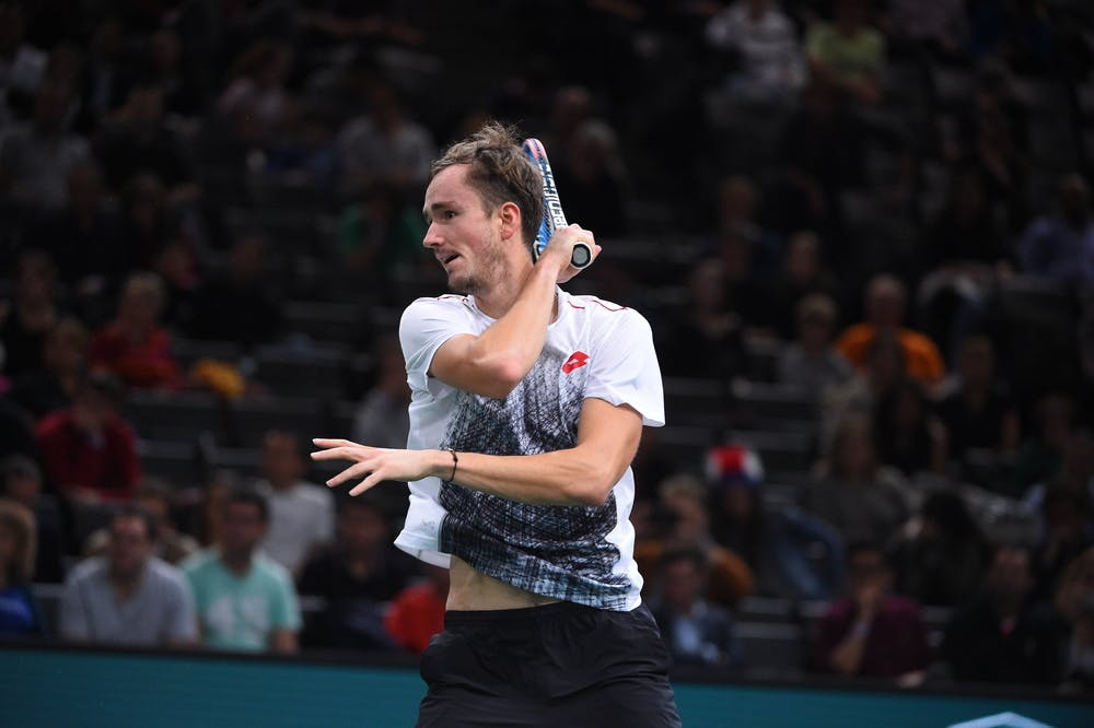 Daniil Medvedev hitting a forehand at the 2018 Rolex Paris Masters