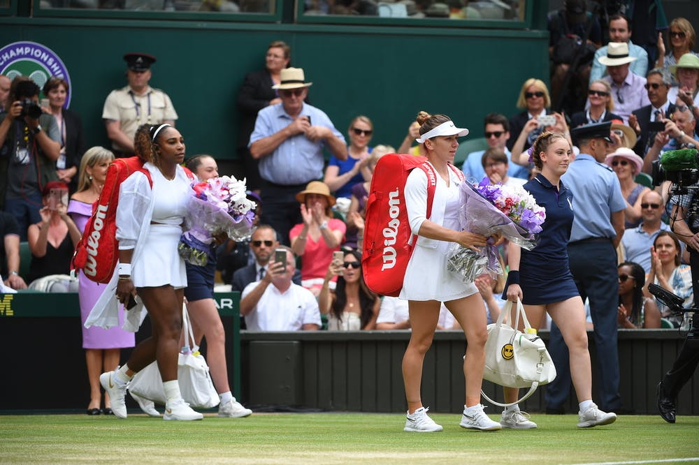 Serena Williams and Simona Haep walking on centre court ahead of Wimbledon 2019 final