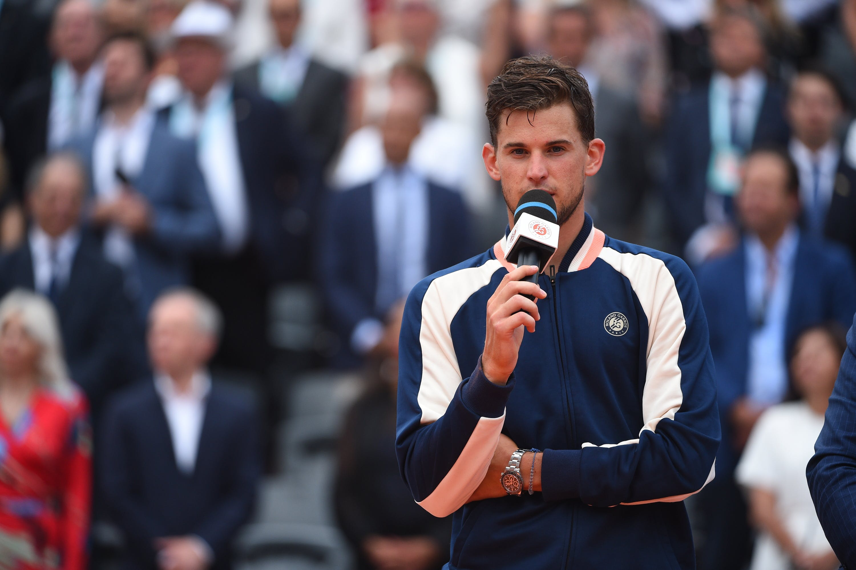 Dominic Thiem during the final ceremony at Roland-Garros 2018