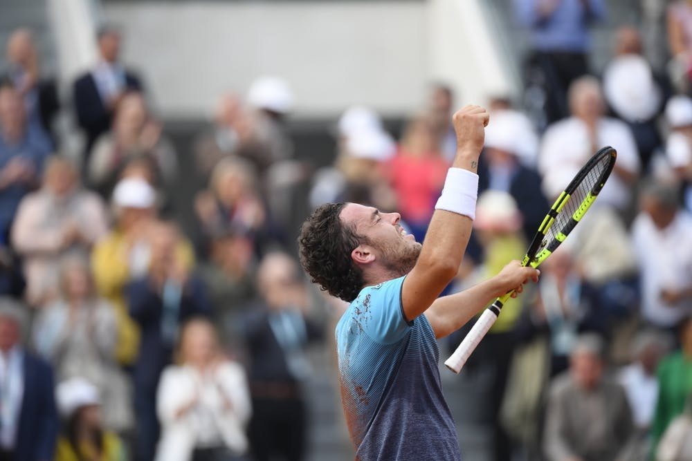 Marco Cecchinato after his victory against Novak Djokovic at Roland-Garros 2018