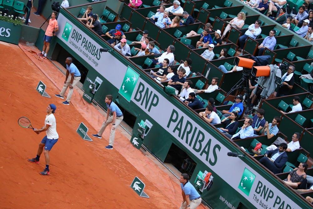 Lucas Pouille Central Roland-Garros 2018.