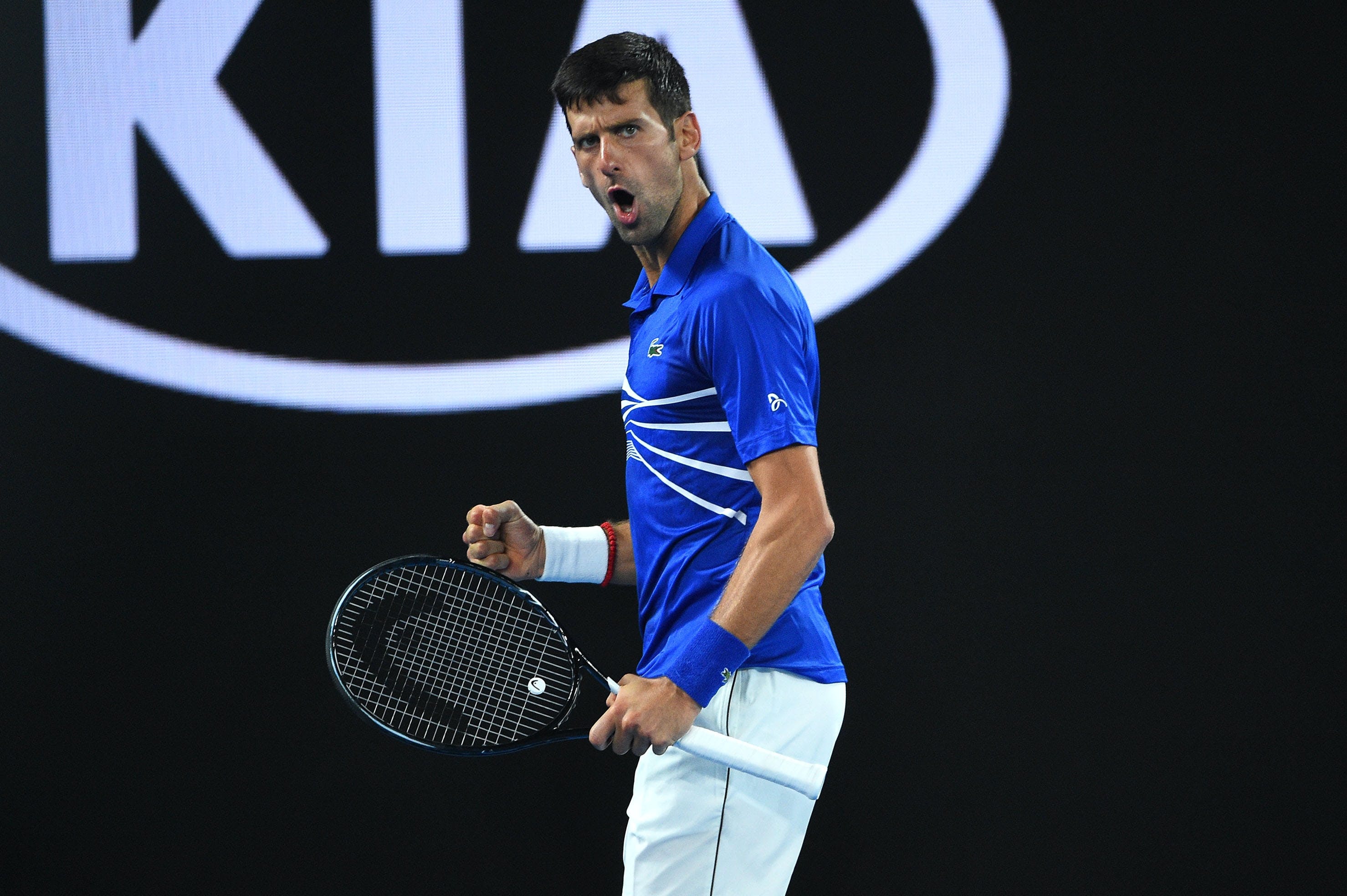Impressive Novak Djokovic during his semifinal against Lucas Pouille at the 2019 Australia Open