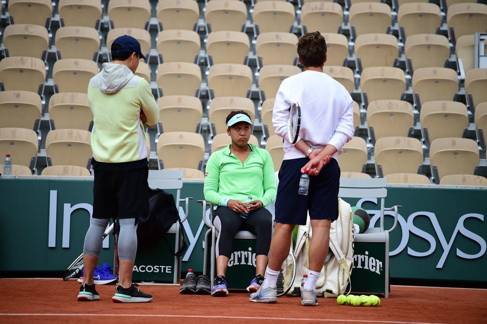 Naomi Osaka, Wim Fissette, Yutaka Nakamura, Roland Garros 2021 practice