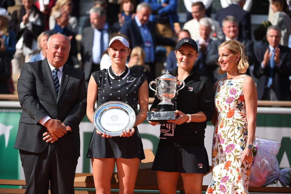 Trophy presentation of the 2019 Roland-Garros women's final