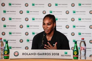 Serena Williams press conference walk-over forfait Roland-Garros 2018.