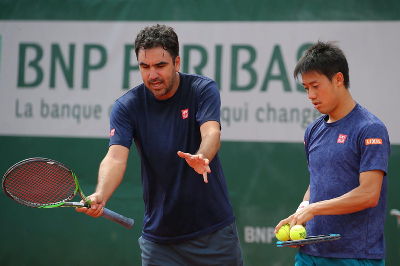 Kei Nishikori - Dante Bottini - Roland-Garros 2019 - entraînement