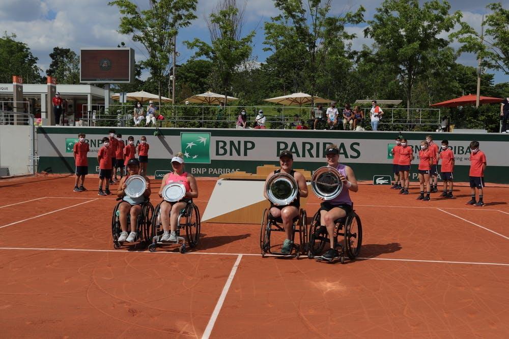 Yui Kamiji, Jordanne Whiley, Aniek Van Koot, Diede de Groot, Roland-Garros 2021, Tennis Fauteuil Double Dames, Remise de Prix