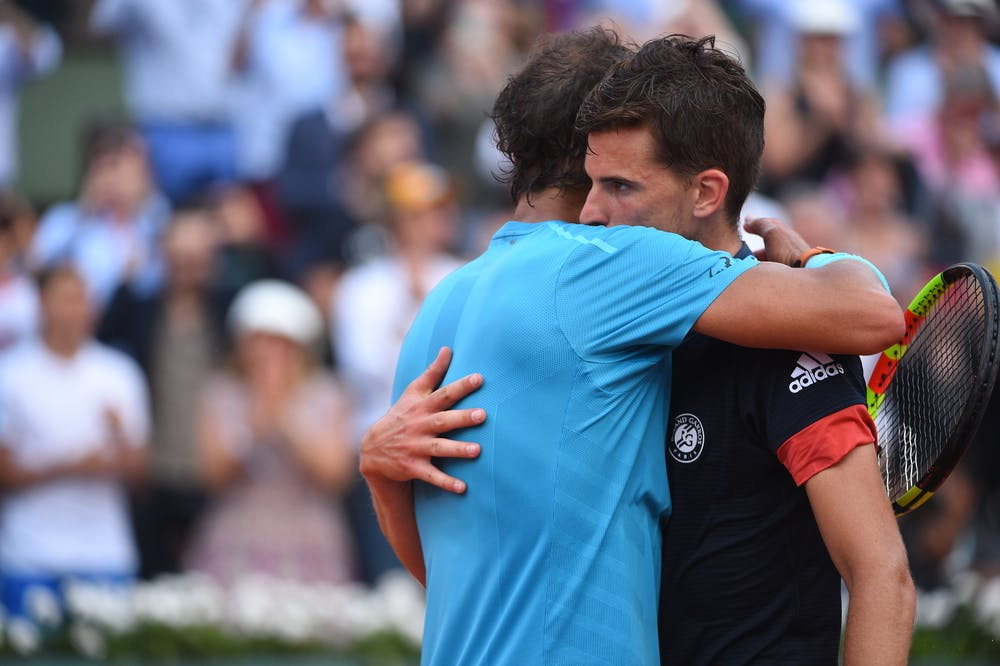 Rafael Nadal hugging Dominic Thiem in the Roland-Garros 2018 final