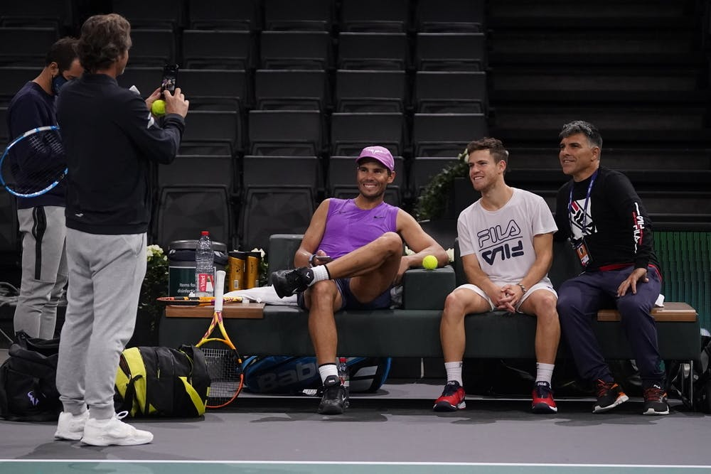 Rafael Nadal and Diego Schwartzman taking a picture together during the Rolex Paris MAsters 2020