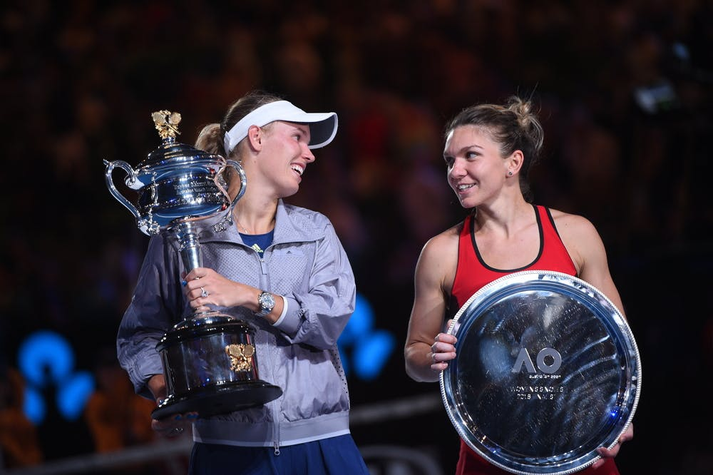 Simona Halep and Caroline  Wozniacki after the 2018 Australian Open final