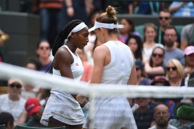 Cori Gauff and Simona Halep at Wimbledon 2019