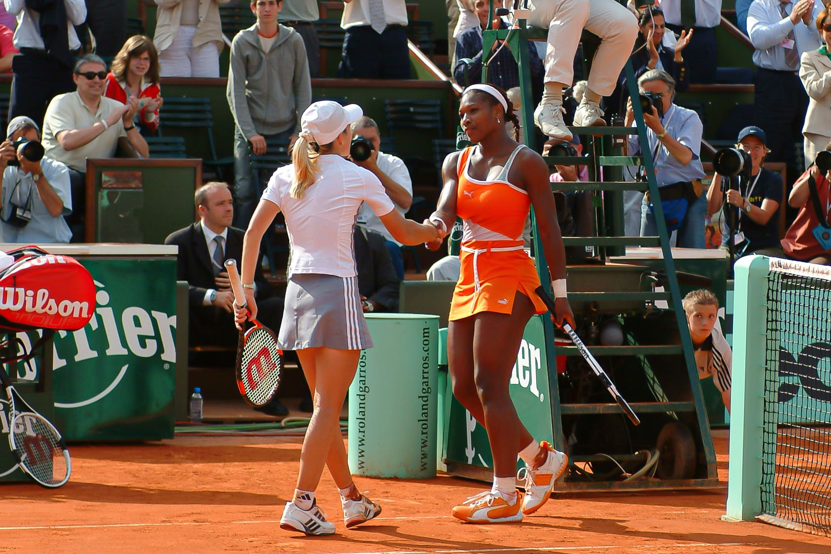Justine Henin against Serena Williams at Roland-Garros 2003