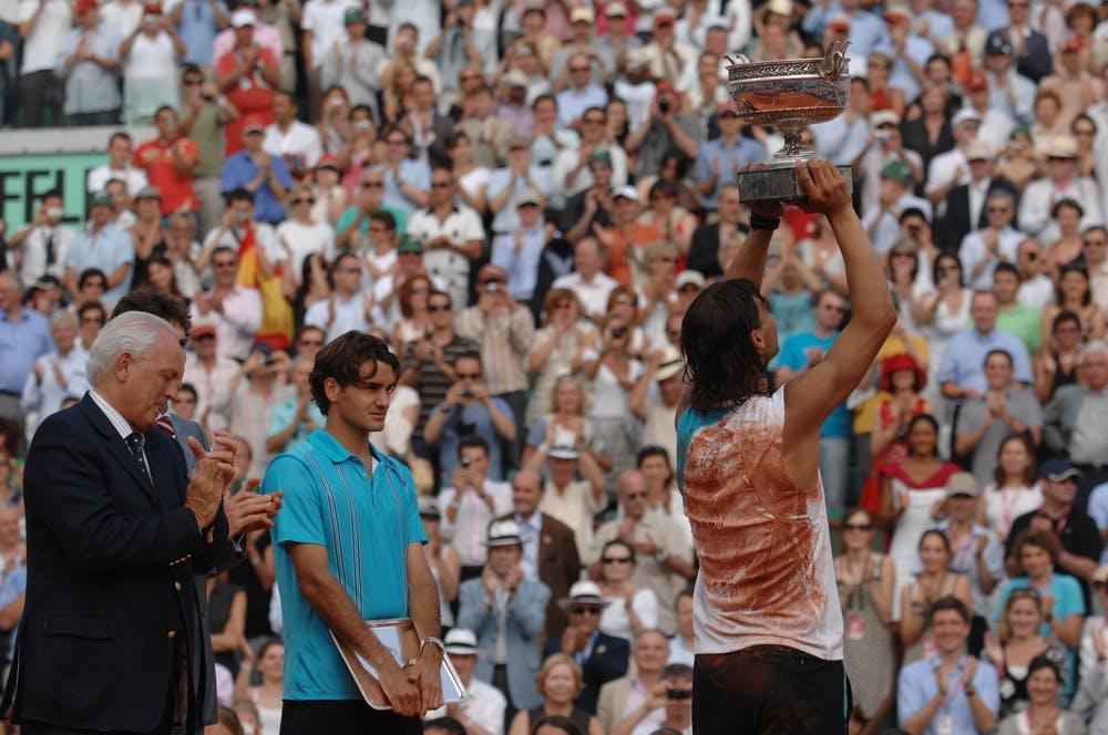 Christian Bîmes, Gustavo Kuerten, Roger Federer et Rafael Nadal