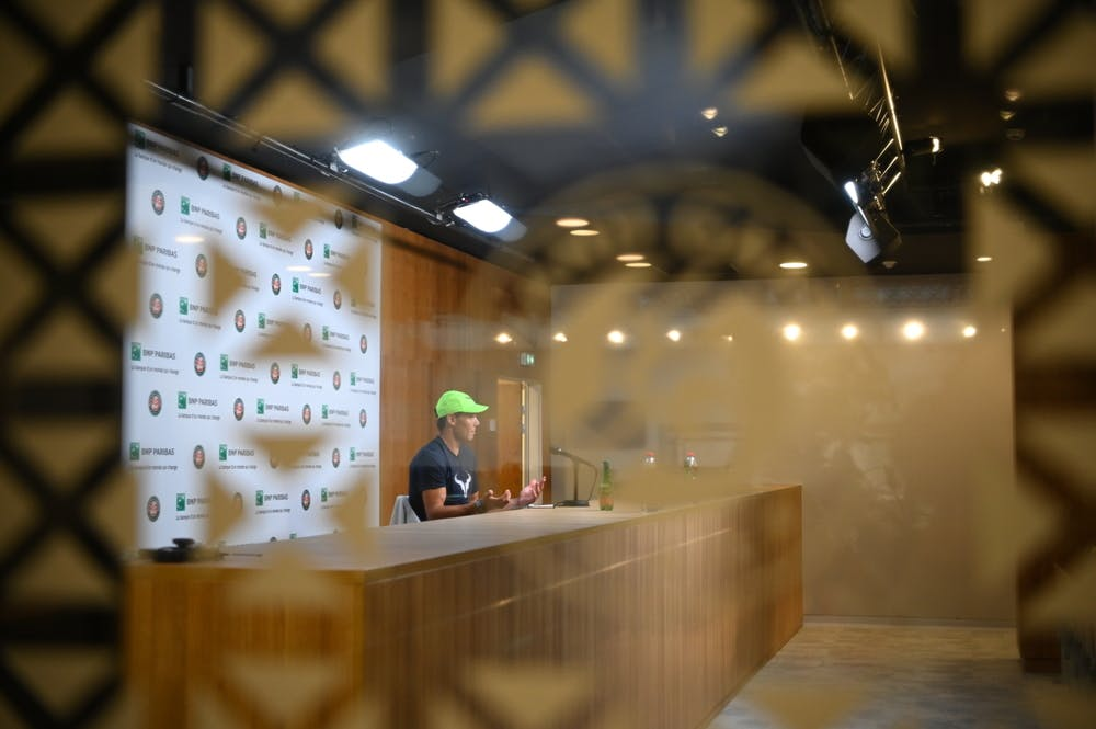 Rafael Nadal during a press conference at Roland-Garros 2020