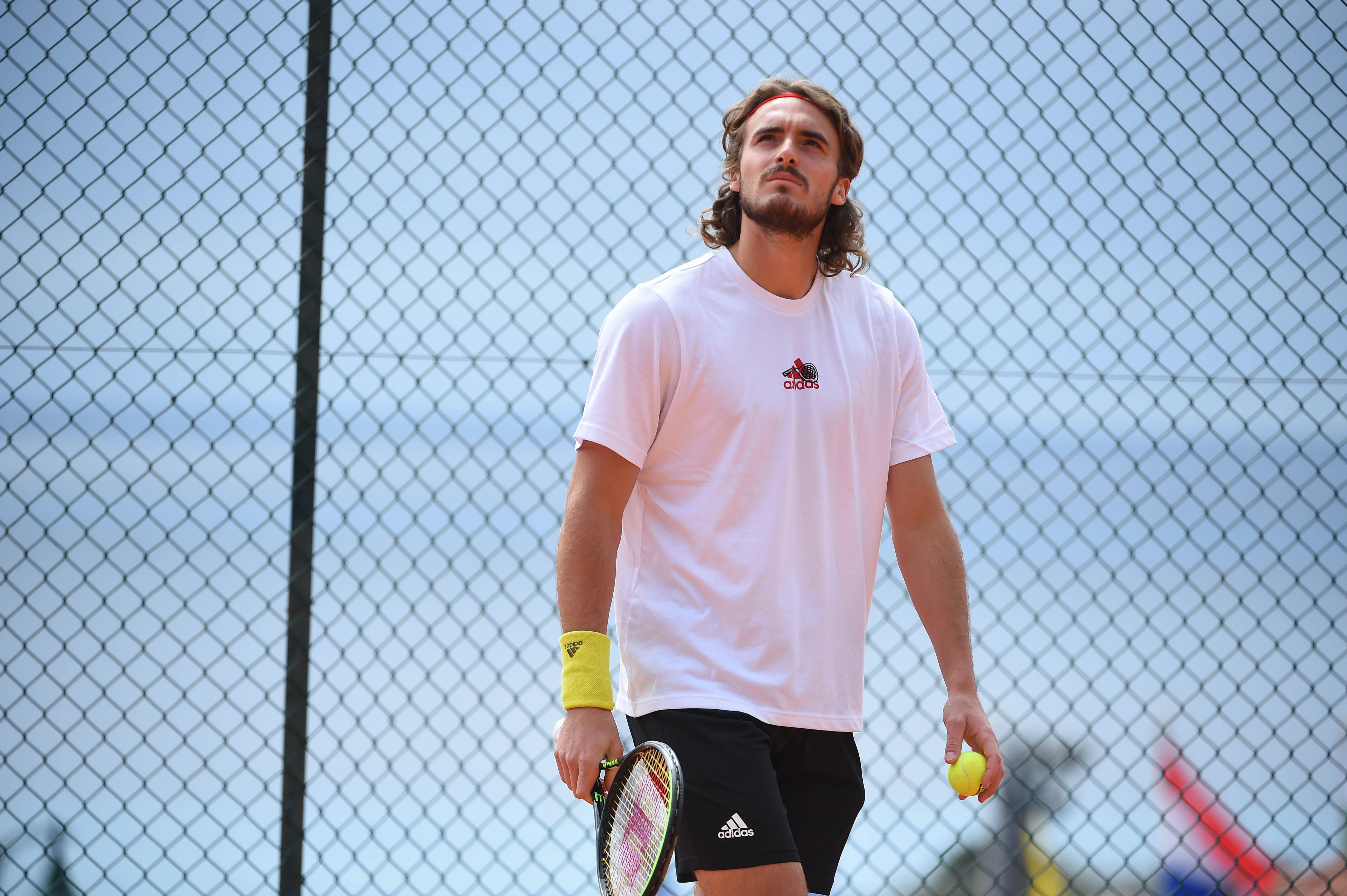 Stefanos Tsitsipas at practice during Rolex Monte-Carlo Masters 2021