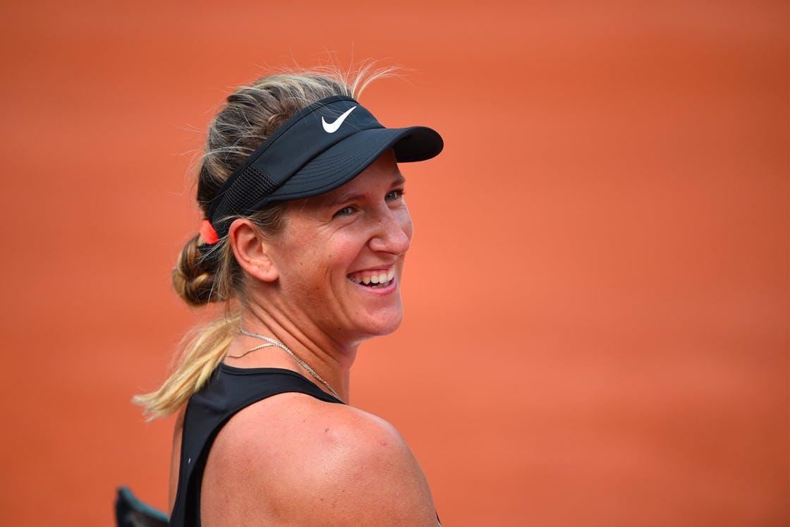 Victoria Azarenka smiling at practice Roland-Garros 2018 entraînement