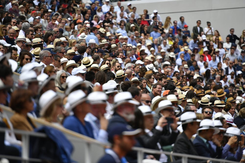 Spectators on the Court Philippe-Chatrier during Roland-Garros 2019