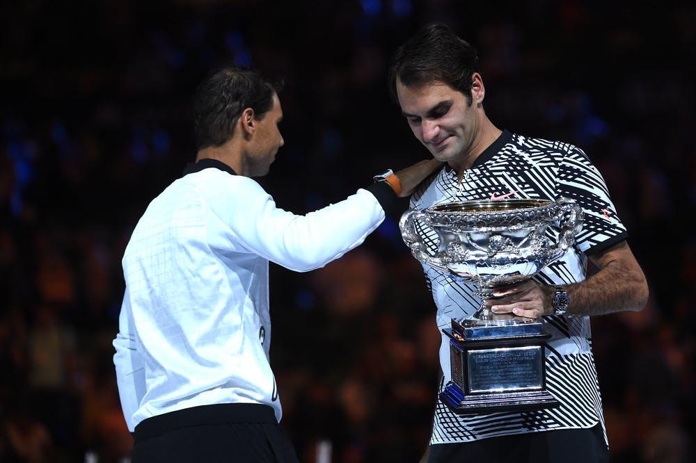 Roger Federer et Rafael Nadal après la finale de l'Open d'Australie 2017