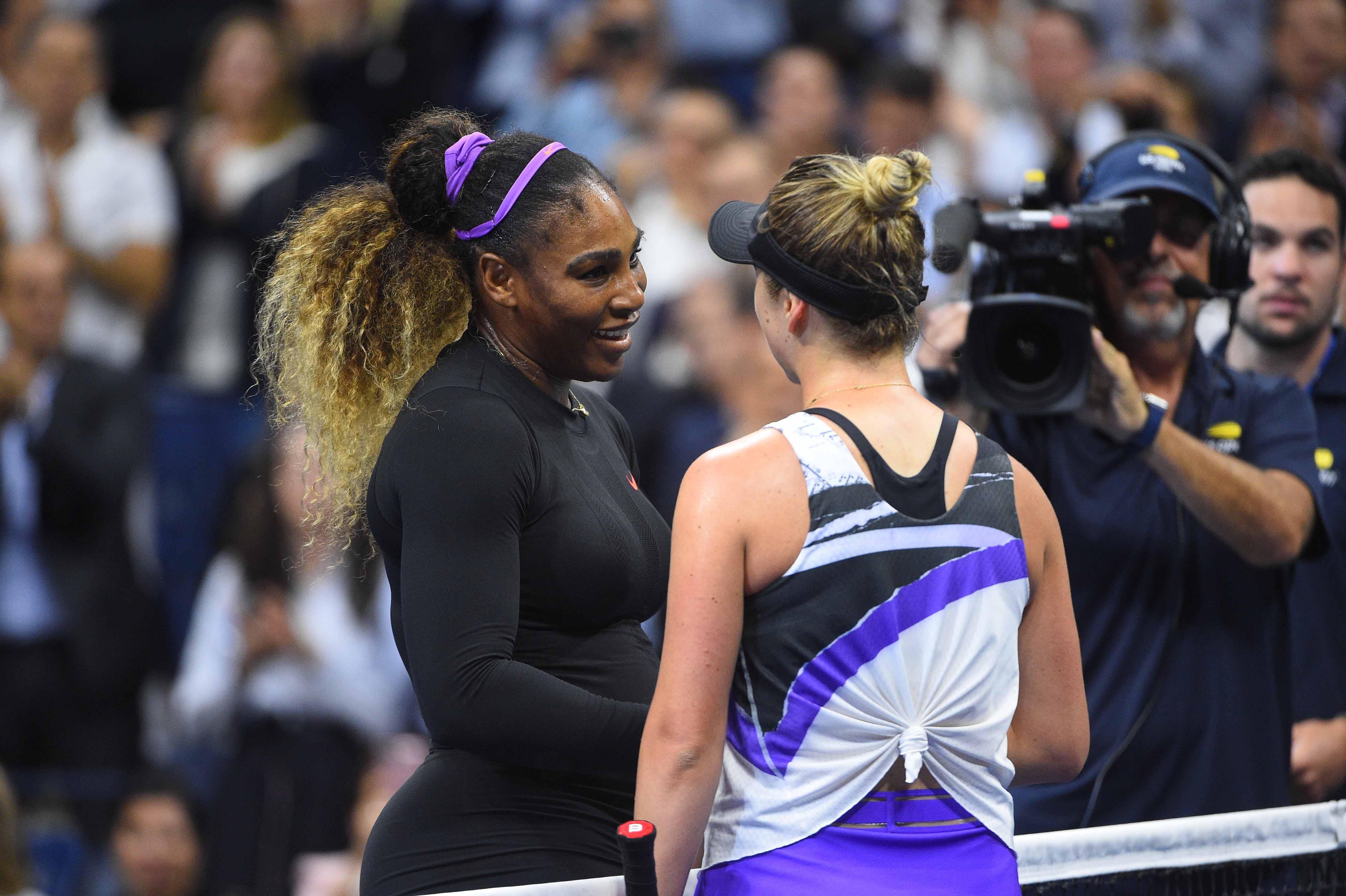 Serena Williams and Elina Svitolina at the net 2019 US Open