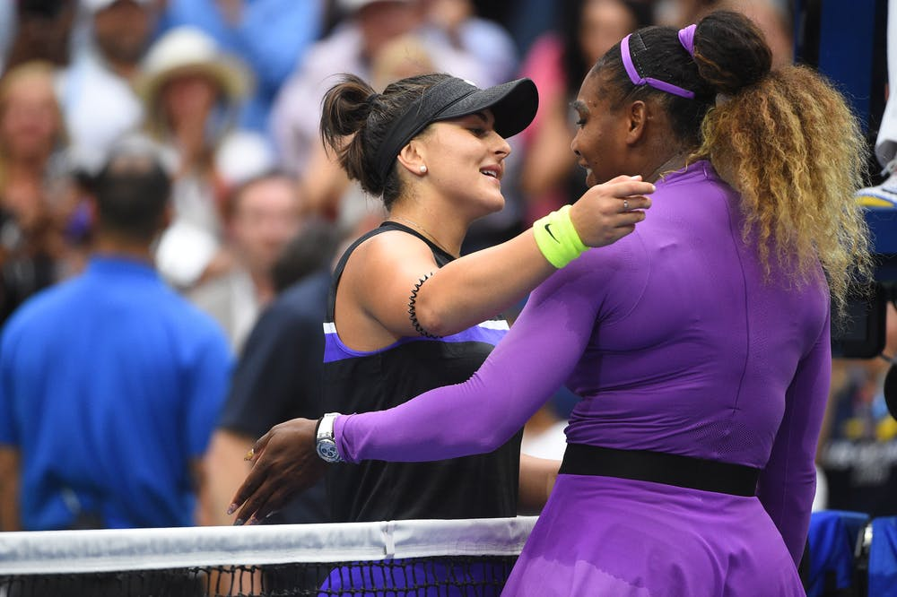 Serena Williams congratuling Bianca Andreescu at the net after the Canadian won the US Open 2019