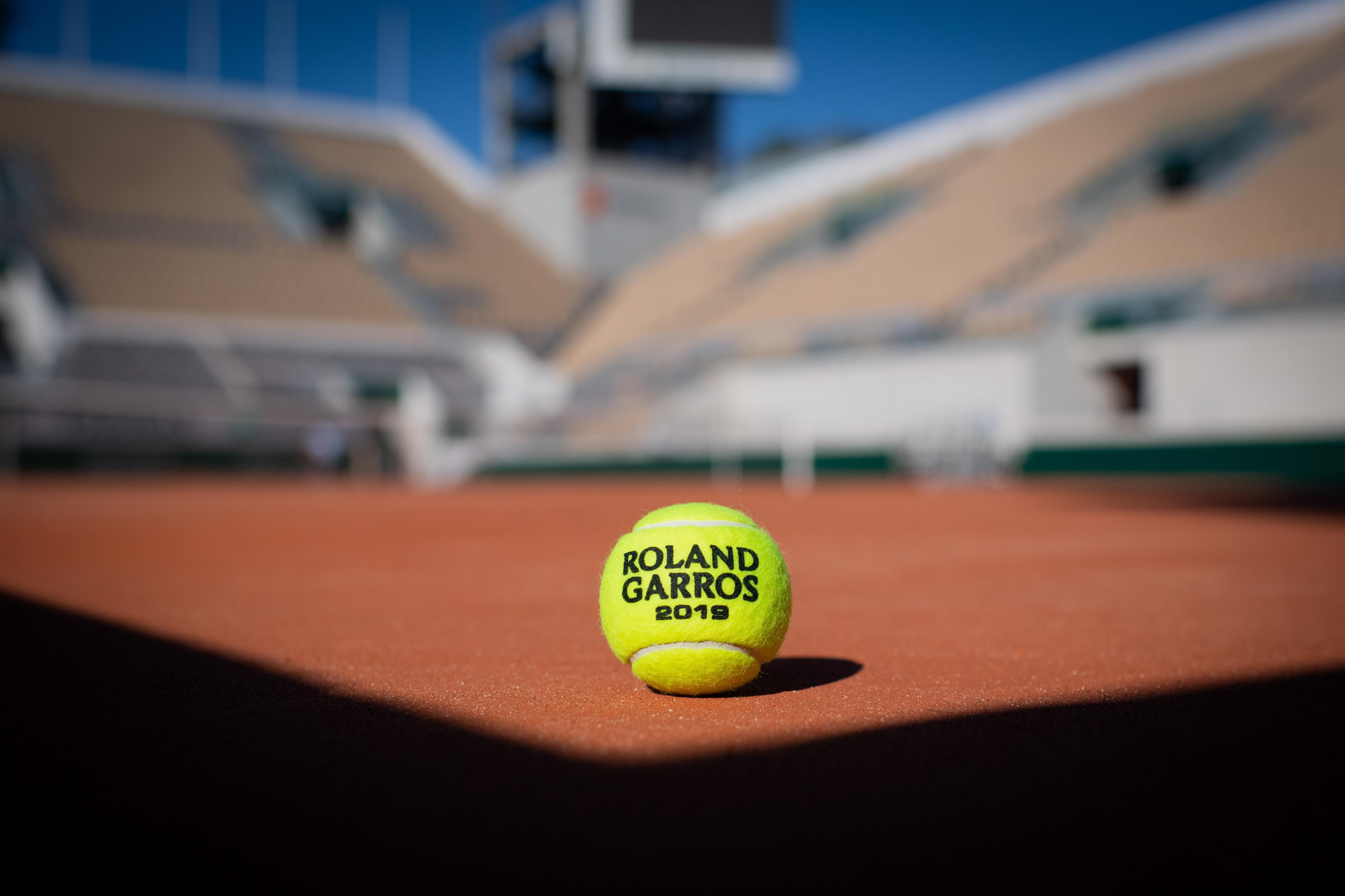 The Roland-Garros 2019 official ball on the red clay of the new Philippe-Chatrier court