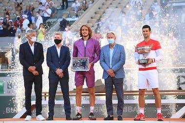 Gilles Moretton, Jim Courier, Stefanos Tsitsipas, Bjorn Borg, Novak Djokovic, Roland Garros 2021, trophy ceremony
